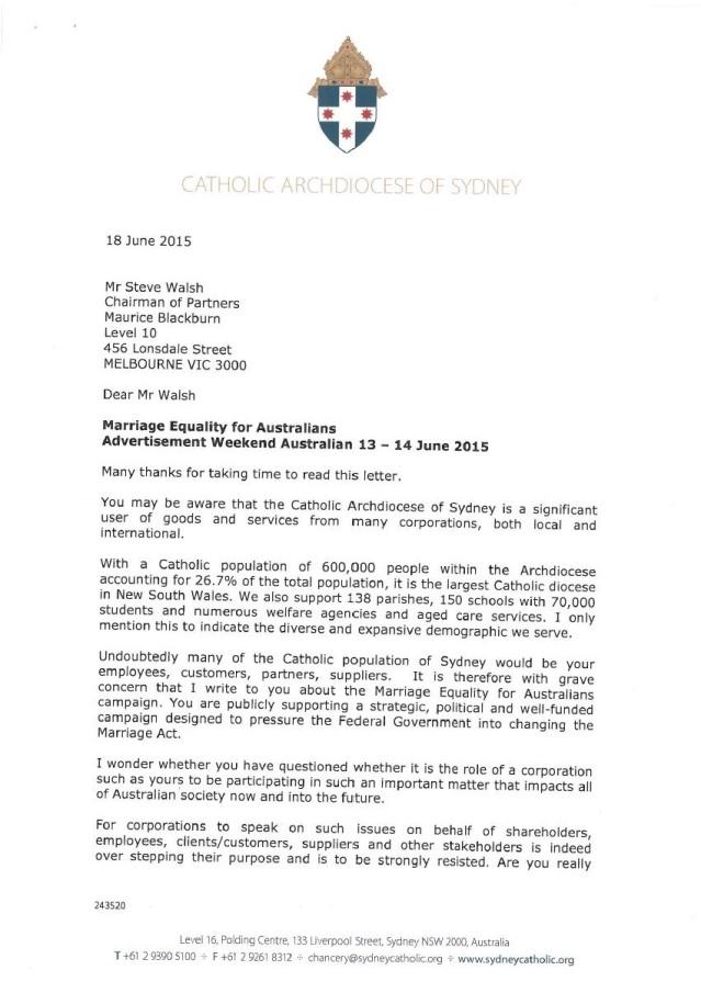 Catholic letter page 1