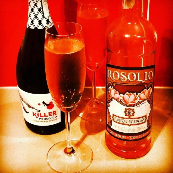 Rose liquor and prosecco