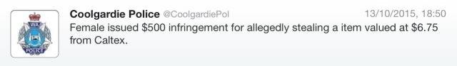 Coolgardie Police tweet