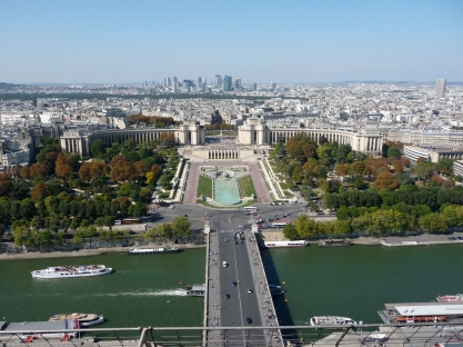Views from the Eiffel Tower towards Jardins du Trocadéro