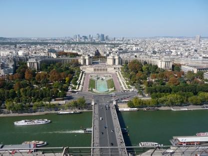 Views from the Eiffel Tower towards Jardins du Trocadéro