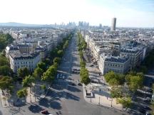 Views from the Arc de Triomphe towards the Grande Arche de la Defense