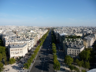 Views from the Arc de Triomphe towards Avenue des Champs-Élysées