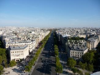 Views from the Arc de Triomphe towards Avenue des Champs-Élysées