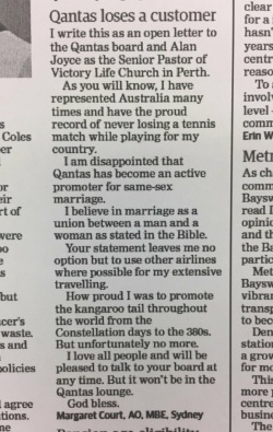 Margaret Court Qantas letter