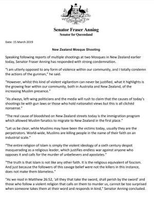 Fraser Anning Christchurch media release
